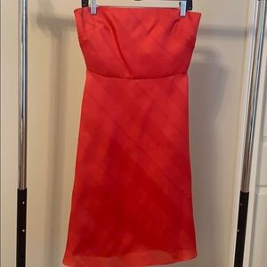 Red strapless Kay Unger midi dress